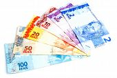 Set of New Brazilian Currency on white  background . poster