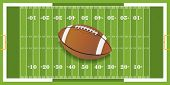 A vector football sitting at midfield of a grass textured football field. EPS 10. File contains transparencies. poster