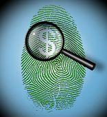 Dollar Symbol in fingerprint under inspection poster