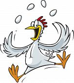 A cartoon of a juggling Chicken. Vector and high resolution jpeg files available. poster