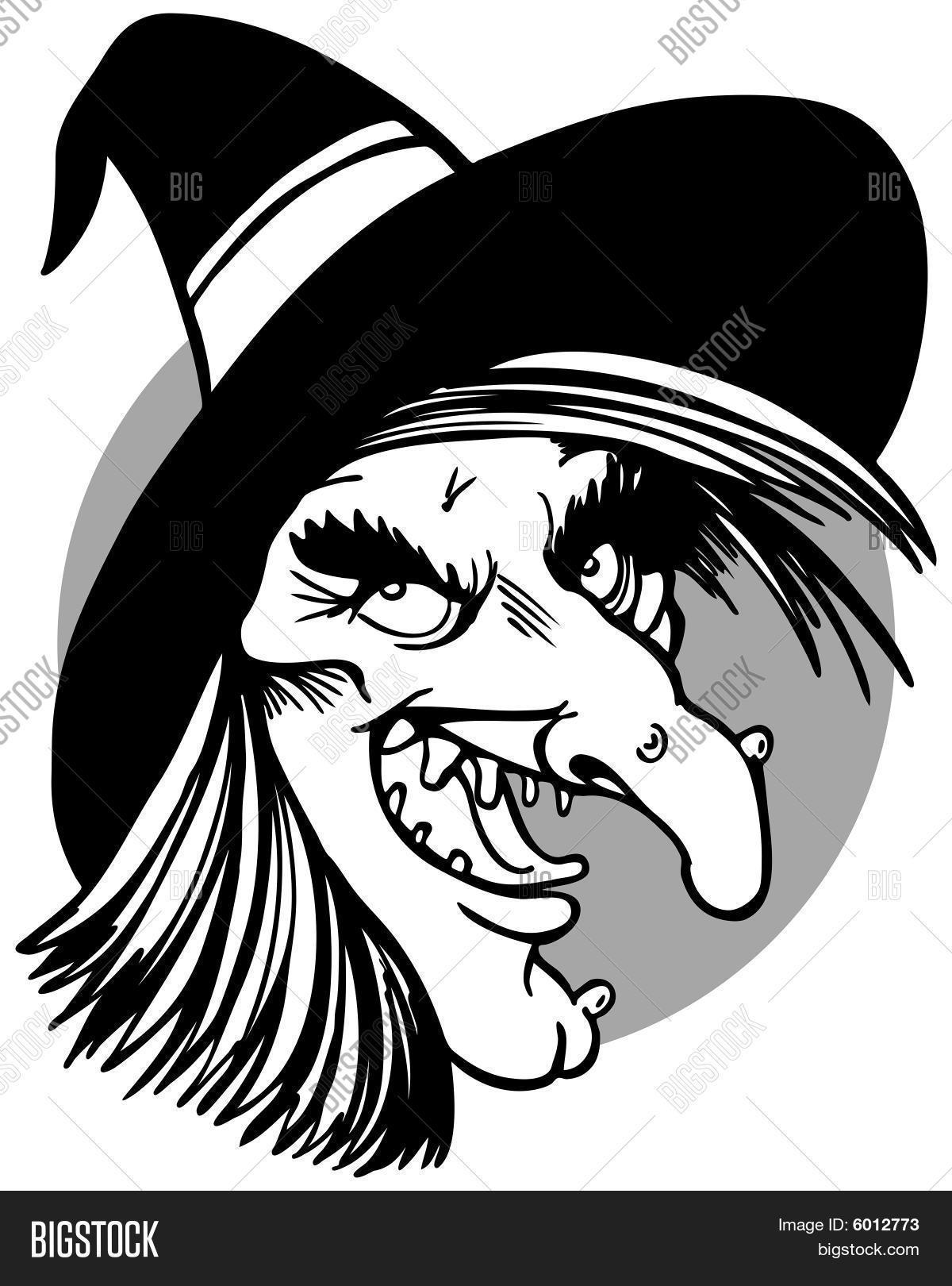 Line Drawing Of Witches Face : Witch face line art vector photo bigstock