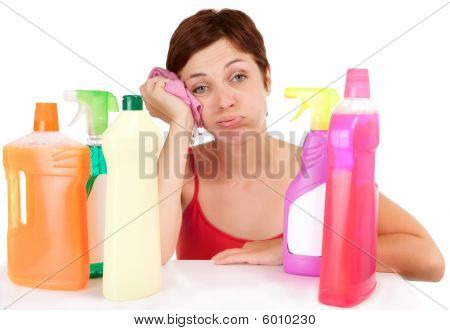 Bored Cleaning Woman Portrait