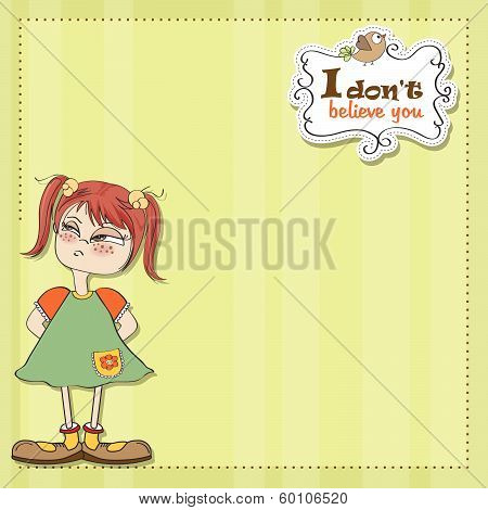 Funny Young Girl Amused And Distrustful