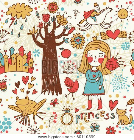 Cute fairytale seamless pattern with little princess, horse, magic tree, castle, frog, key, cake. Sweet background can be used in birthday design, children bedroom.