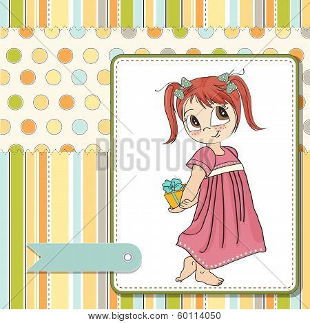 pretty young girl she hides a gift vector illustration poster