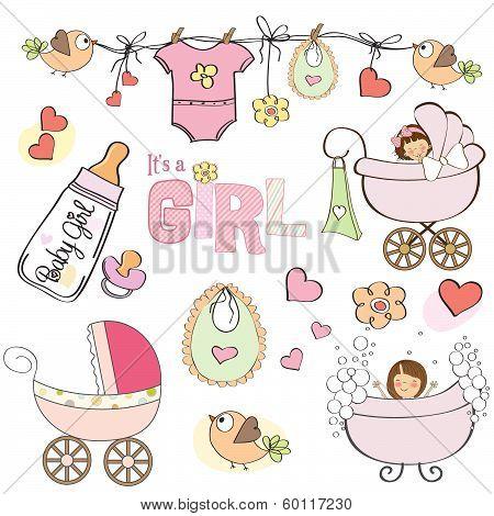 Baby Girl Shower Elements Set Isolated On White Background