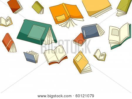 Illustration Featuring Different Books Falling from the Sky