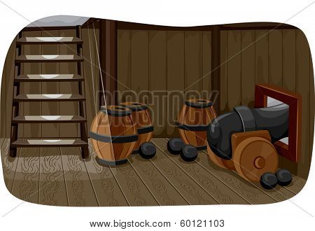 Illlustration Featuring a Gun Deck Used to Store Cannonballs, Barrels of Gunpowder, and a Cannon
