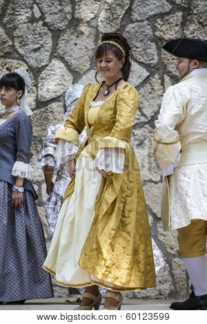 Spanish classical and popular dance, during the re-enactment of the War of Succession. September 4, 2010 in Brihuega, Spain
