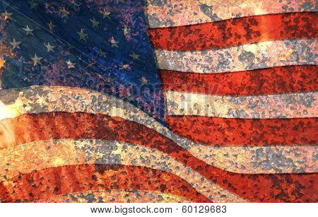 Vector Distressed American Flag