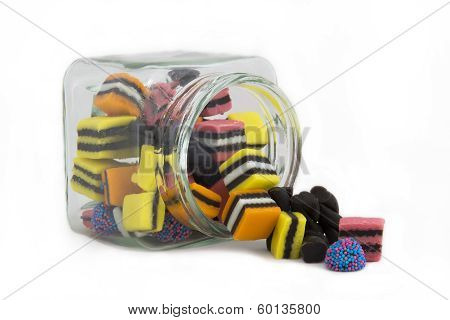 Licorice Allsorts in a Jar from side