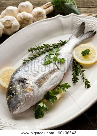 gilthead over dish ready to cooking