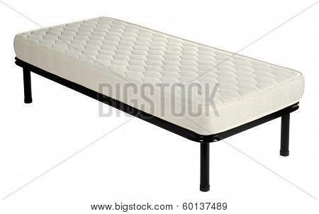 Single Divan Bed With A Mattress On White