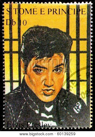 SAO TOME AND PRINCIPE - CIRCA 1995. A postage stamp printed by S.Tome and Principe shows image portrait of famous American singer Elvis Presley (1935-1977), circa 1995.