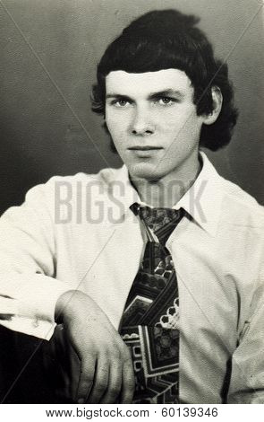 MOSCOW, USSR - CIRCA 1970s: An antique photo shows portrait of a  young man