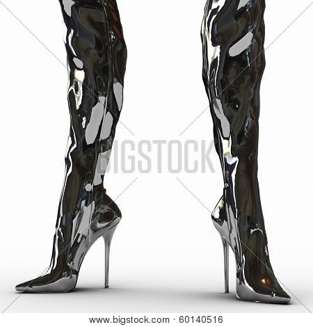 illustration of fetish boots isolated on white background poster