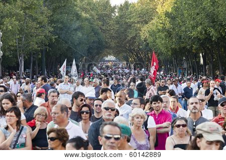 Lisbon, Portugal. October 01, 2011: Protesters in demonstration in Liberdade Avenue against the IMF and the austerity plan