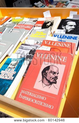 Lisbon, Portugal. May 30, 2013: Portuguese edition of the Lenin's Materialism and Empirio-Criticism at the Lisbon Book Fair.