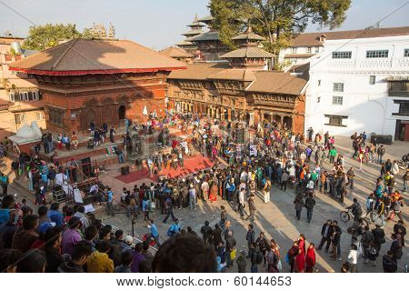 KATHMANDU, NEPAL - NOV 29, 2013: Unidentified participants protest within a campaign to end violence against women (VAW). Held annually since 1991, 16 days - from Nov 25 to Dec 10.