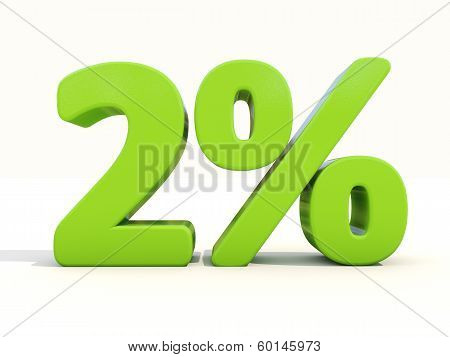 2% Percentage Rate Icon On A White Background
