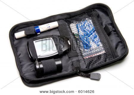 A diabetics medical insulin kit with glucometer. poster