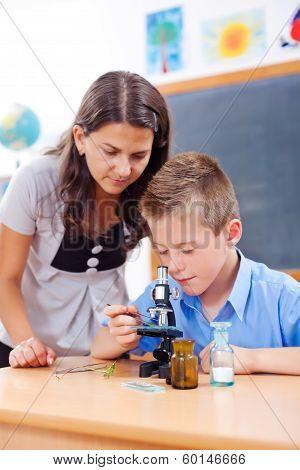 Schoolboy Looking Into Microscope