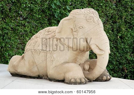Sand stone elephant, exotic sculpture of Thailand