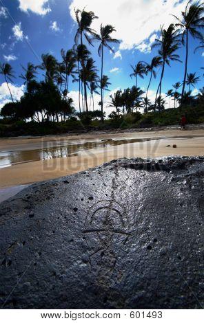 Hawaiian Glyph On Rock