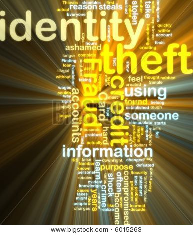 Identity Theft Wordcloud Glowing