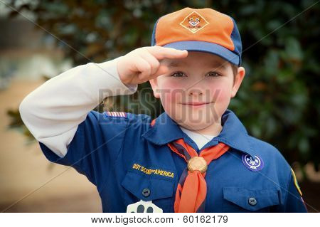 Cub Scout giving Boy Scout salute