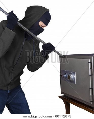 Burglar Is Opening a Safety Box