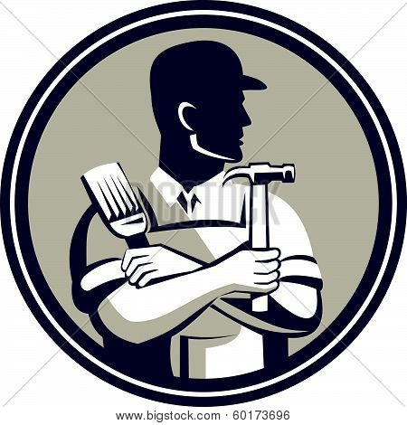 Carpenter Painter Holding Hammer Brush Retro Style