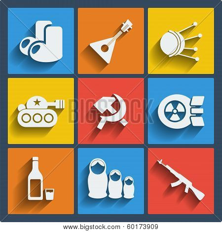 Set of 9 vector russia web and mobile icons