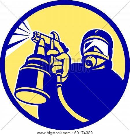Spray Paint Gun Painter Spraying Retro
