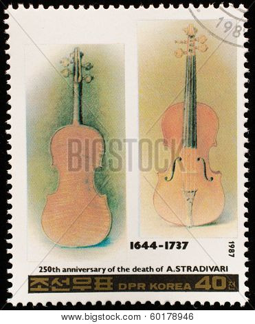 NORTH KOREA - CIRCA 1987: A stamp printed in North Korea shows Stradivarius violin, series Famous Composers, circa 1987