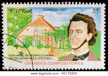 CUBA - CIRCA 1997: a postage stamp printed in Cuba showing an image of Frederic Chopin, circa 1997.