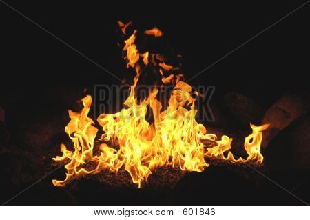 Campfire Wth Billowing Flames
