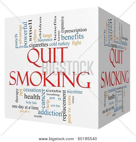 Quit Smoking Word Cloud Concept On A 3D Cube
