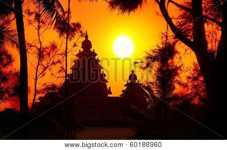 Temple Silhouette In India