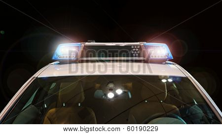 Police Car With Flash Lights And Siren