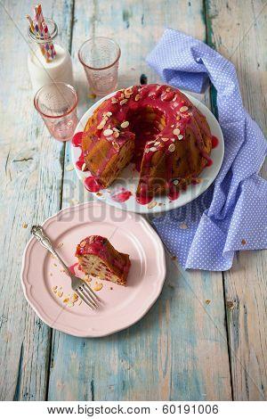 Piece Of Raspberry Cream Cake With Fresh Milk, Colored Desktop Background