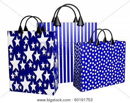 3D Festive Blue Shopping Bags