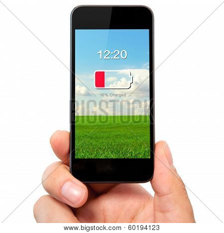 Isolated Man's Hand Holding The Phone With Low Battery On A Screen