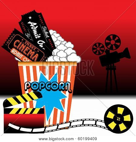 Abstract colorful background with movie projector shape, clapboard, film reel, popcorn and two cinema tickets poster