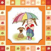 young pretty girl and her dog friendship card in vector format poster