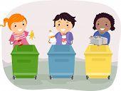 Illustration of Kids Segregating Trash poster