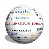 Alzheimer's Disease 3D sphere Word Cloud Concept with great terms such as elderly genetic dementia and more. poster