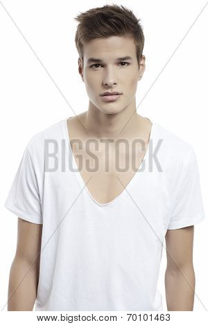 Handsome Man Standing With White T-shirt