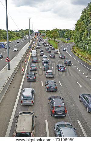 Lots Of Car Stucked In Bertem Cloverleaf, On The Highway E40