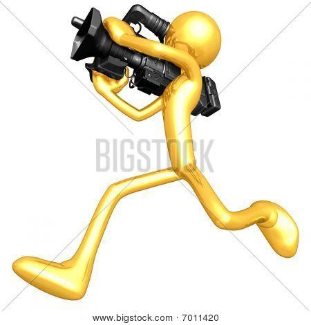 Gold Guy Cameraman Running